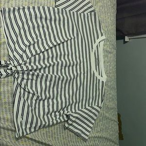 Hollister black and white stripped cropped top